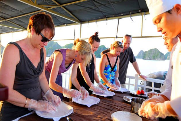 Cooking demonstration on cruise