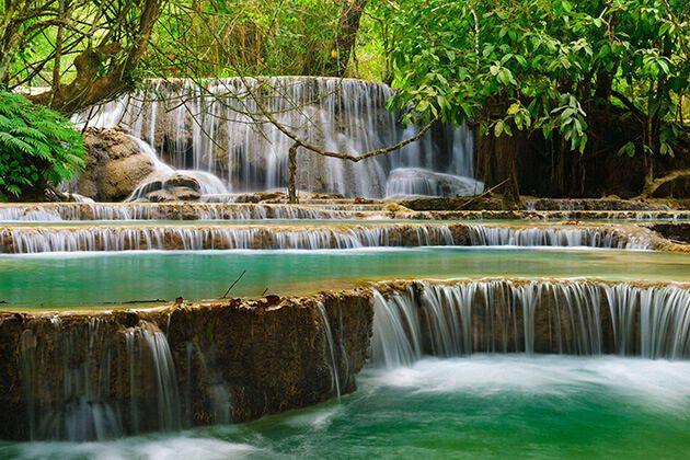 Kuang Si Falls in luang prabang - vietnam laos holiday packages