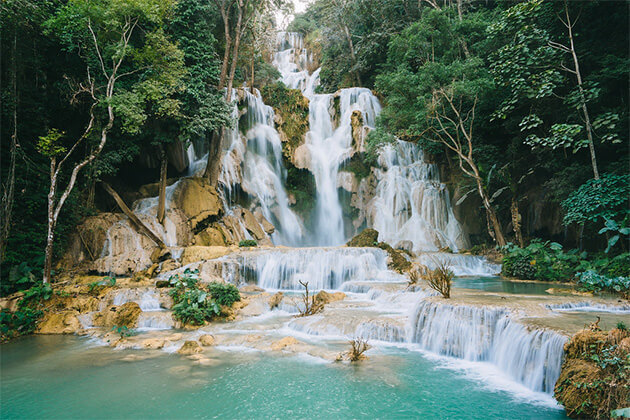 enjoy stunning Kuang Si Falls from Laos trip