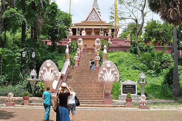 visit Wat Phnom Pagoda in Vietnam Cambodia Laos tour