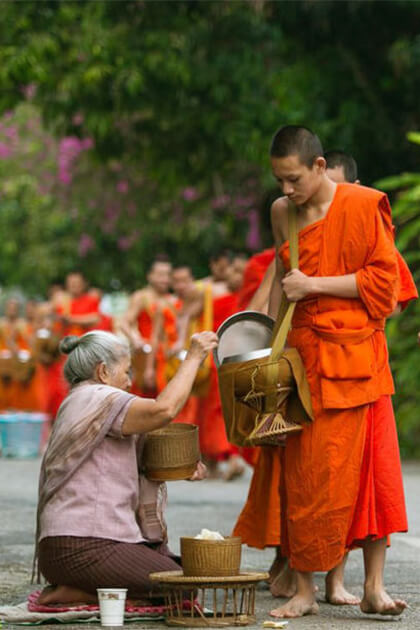 witness monks in luang prabang from Indochina trip